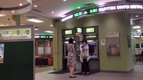 Woman Inside The Bank stock footage