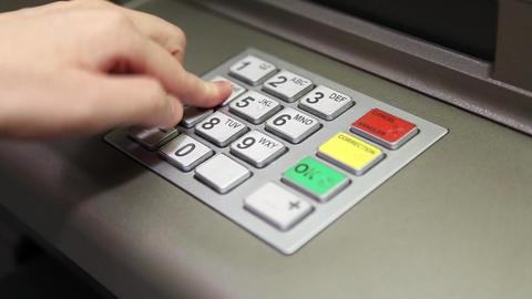 Using keypad at ATM machine Footage