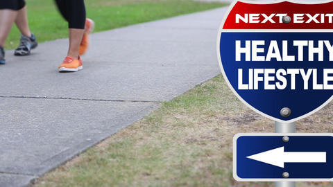 Healthy lifestyle road sign Stock Video Footage