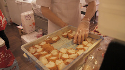 Inarizushi, Stuffed Tofu Skin Sushi Being Prepared stock footage