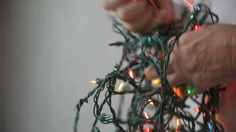 Christmas lights untangling Footage