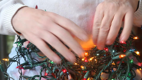 tangle of Christmas lights Footage