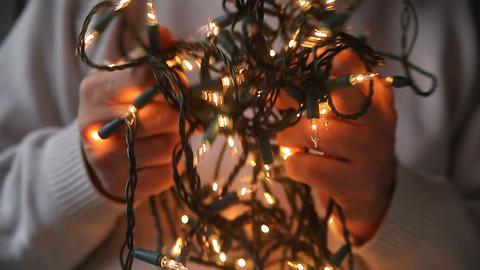 tangled white Christmas lights Footage