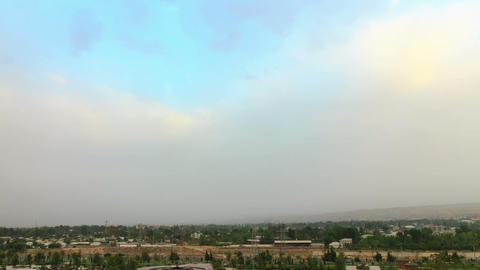 Rain clouds in the morning in the dry Dushanbe. Ta Footage