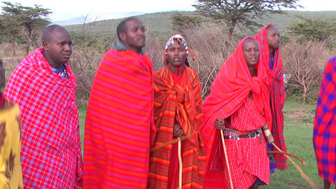 Masai Warriors Perform A Ritual Dance In Kenya, Af Footage