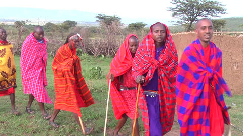 Masai warriors chanting marching jumping red blue Footage
