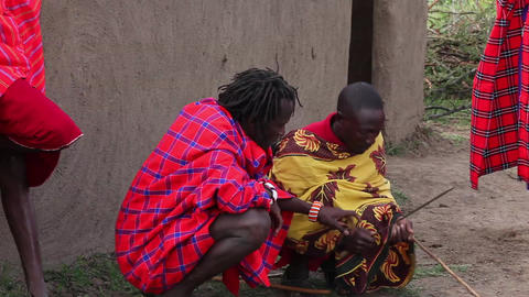 Maasai Warrior African Tribal Culture Making Fire Footage