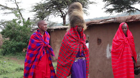 Masai men close up Footage