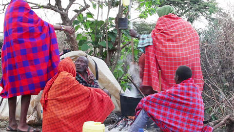 Men Masai campfire Footage