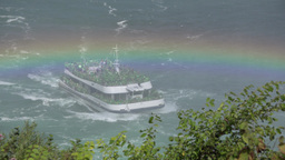 Hornblower Cruise Boat In Niagara Falls stock footage