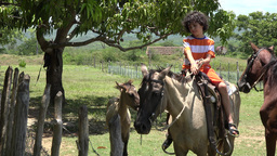 Hispanic Child Riding Horse In A Farm stock footage
