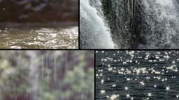 Multiscreen Rain Waterfall Lake Water Drops Slow M stock footage