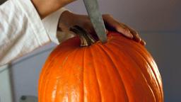 Halloween Pumpkin Getting Ready stock footage