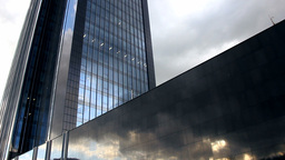 Skyscraper Under Clouds Timelapse stock footage