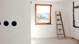 Rebuilding Home Interior With View Outside stock footage