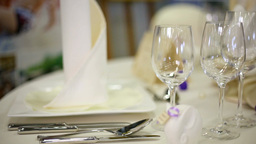 Wedding Table - Glasses And Decorative stock footage