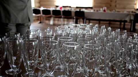 Empty And Clean Glasses stock footage