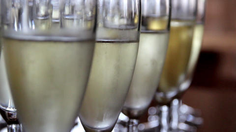 Up-close Image of the Sparkling Champagne glasses Footage
