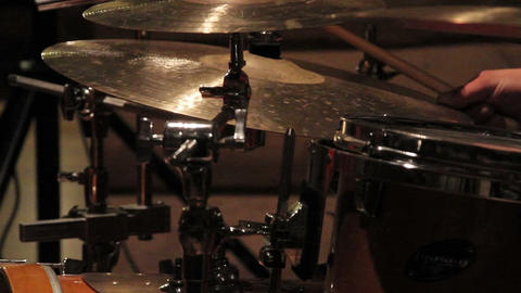 Playing with the drum cymbals set Footage