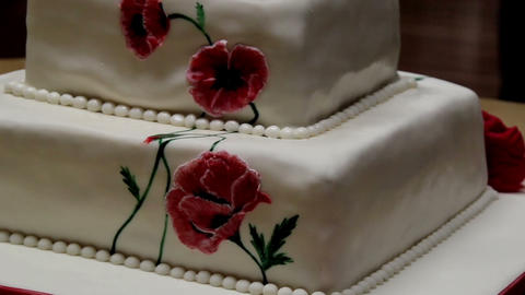 Red Flower Decorated Fondant two-layered Cake Footage