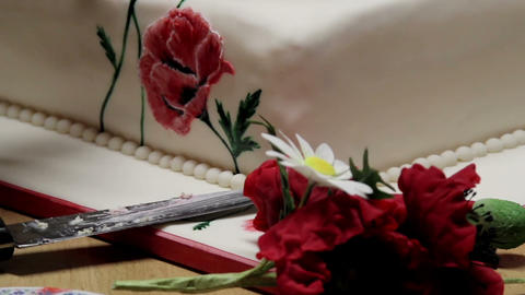 Fresh Flowers For Cake Design stock footage
