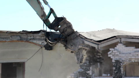 Damaged Property bulldozer in action and destroyin Footage