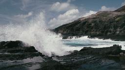 1080p, Shore Line, Coast Line, Hawaii With Big Wav stock footage
