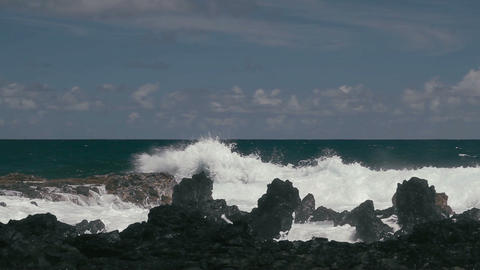 1080p, Shore Line, Coast Line, Hawaii with big wav Footage