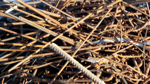Cluttered Construction bars a stack of iron rods f Live Action