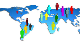 World Map Colorful Diverse People Growing Animation