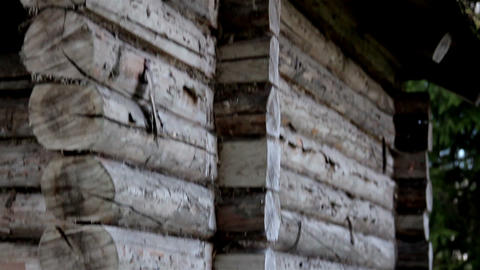 A pile of wooden blocks made cabin wall Footage