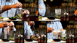 Bartender Preparing And Serving Mojito Cocktail Mu stock footage