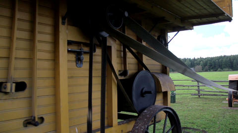The home made old time noisy farm machine and the  Footage