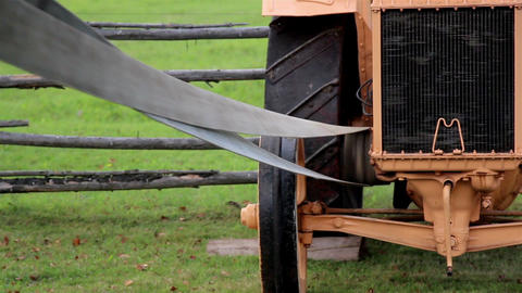 The home made old time noisy farm machine Straw Ha Live Action