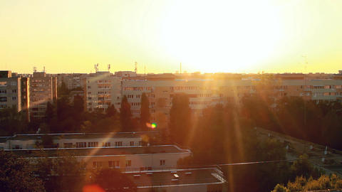 Beautiful Sunset Flare From A Top Of A Building, A stock footage