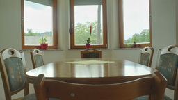 Kitchen Table With Chairs And Windows HDR 06 stock footage