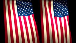 2 USA US Flags Closeup Waving CG Animation