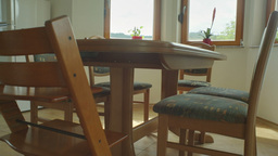 Kitchen Table With Chairs And Windows HDR 07 stock footage