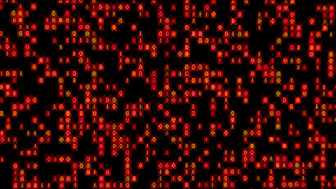 Data Stream Binary Glowing In Orange Red Loop Animation