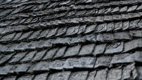 The old cedar wooden shingle shake roof of the hou Footage