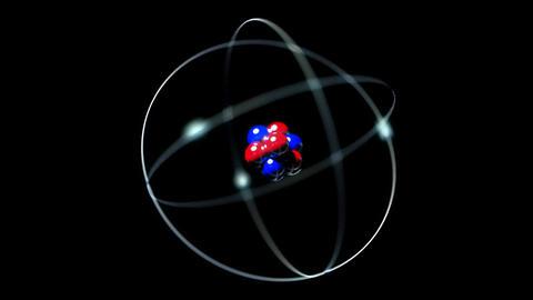 Atom single nucleus proton neutron electron loop Animation