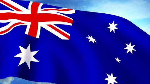 Australian Flag Closeup Waving Against Blue Sky Se Animation