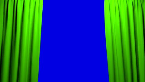 Green Curtains opening and closing stage theater c Animation