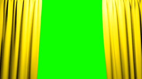 Yellow Curtains Opening And Closing Stage Theater stock footage