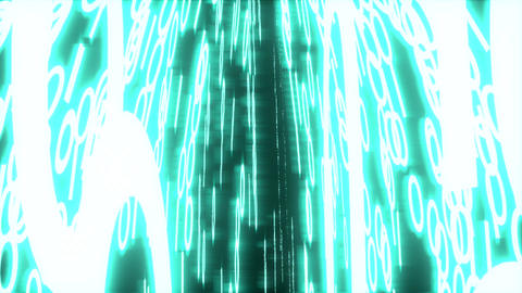 Binary Data Glowing Closeup Perspective Blue stock footage