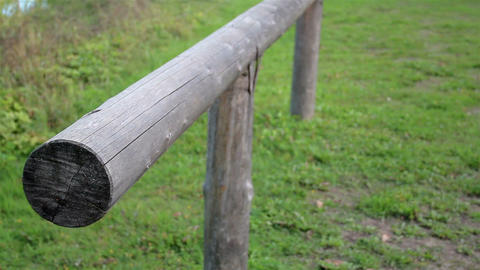 Old Horse Holder Horizontal Pole In An Open Space stock footage