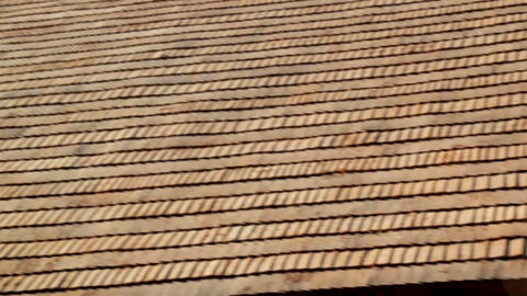 The brown tar oiled wooden shingle shake roof of a Live Action