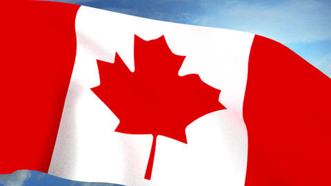 Canadian Flag Closeup Waving Against Blue Sky Seam stock footage
