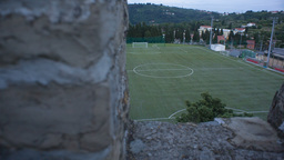 RAW Football Playground From A Castle Scenic 422 1 stock footage