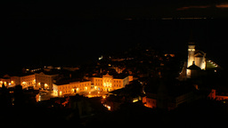 Small City With Church By The Sea At Night Timelap stock footage